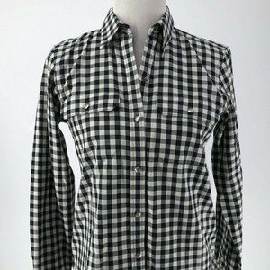 Chaps Navy Blue Ivory Gingham Silver Button Front
